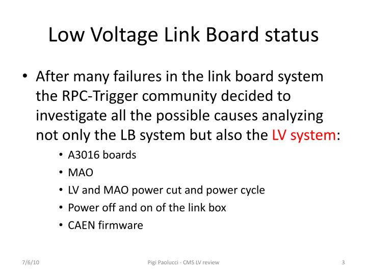 Low voltage link board status
