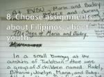 8 choose assignments about f ilipinos about youth