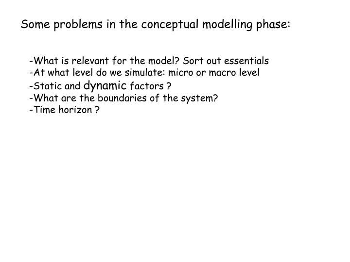Some problems in the conceptual modelling phase: