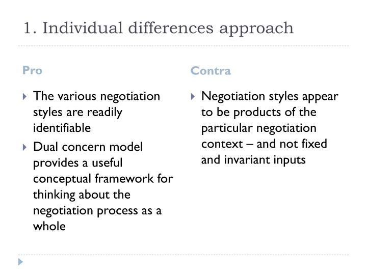 1. Individual differences approach