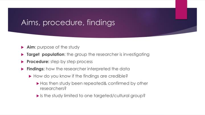 Aims procedure findings