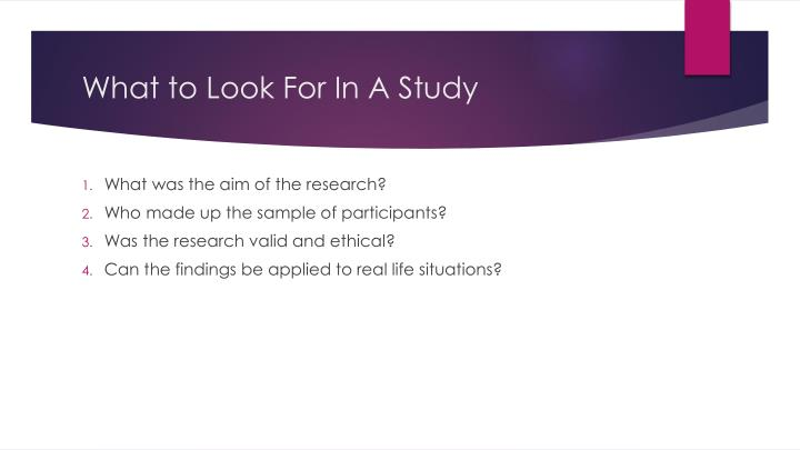 What to Look For In A Study