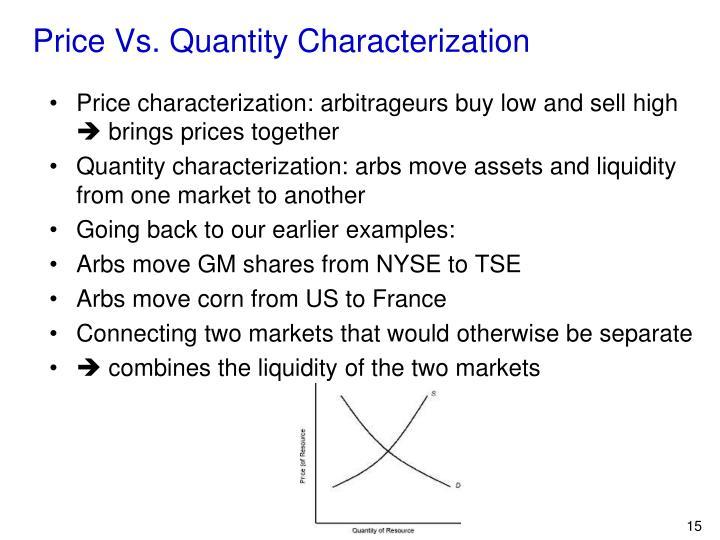 Price Vs. Quantity Characterization
