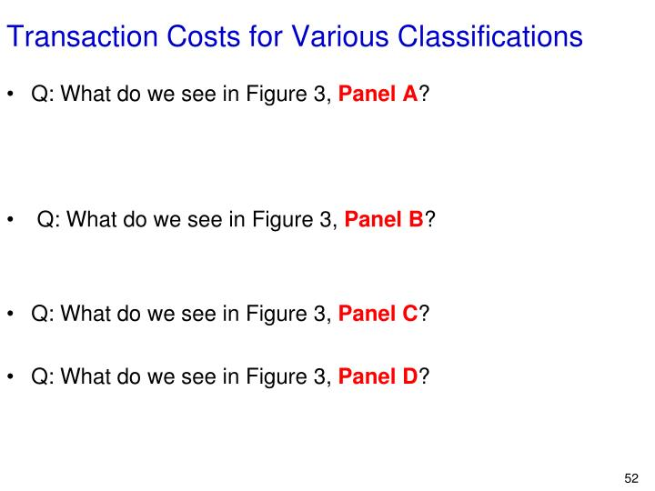 Transaction Costs for Various Classifications