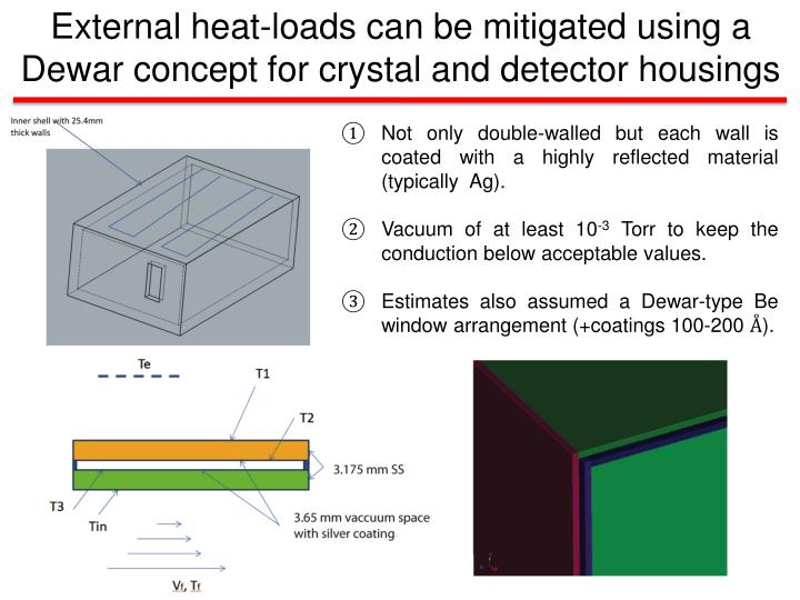 External heat-loads can be mitigated using a Dewar concept for crystal and detector housings