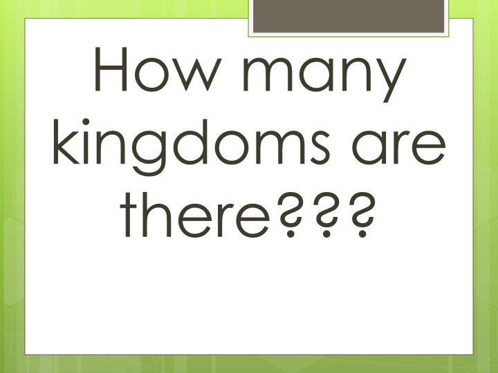 How many kingdoms are there???