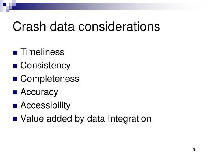 Crash data considerations