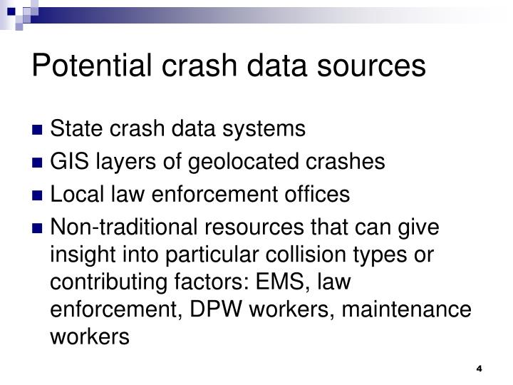 Potential crash data sources