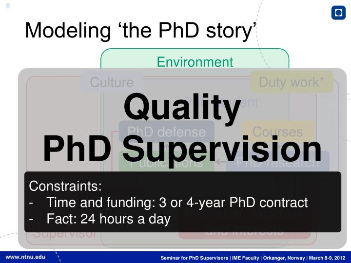 Modeling 'the PhD story'