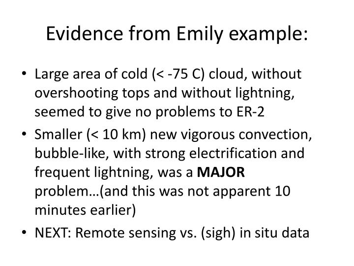 Evidence from Emily example: