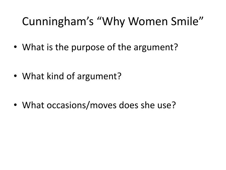 """Cunningham's """"Why Women Smile"""""""