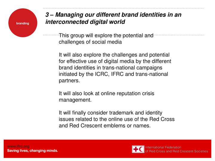3 – Managing our different brand identities in an interconnected digital world