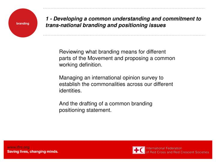 1 - Developing a common understanding and commitment to trans-national branding and positioning issues