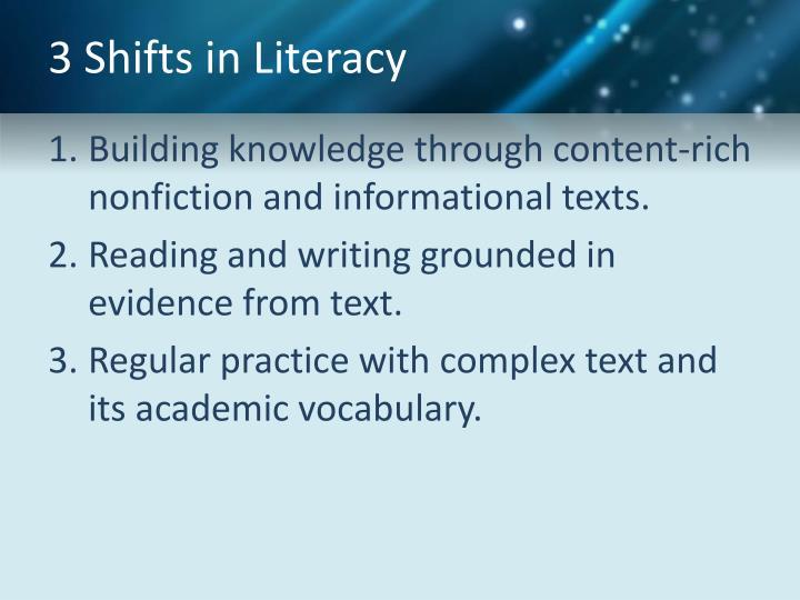 3 Shifts in Literacy