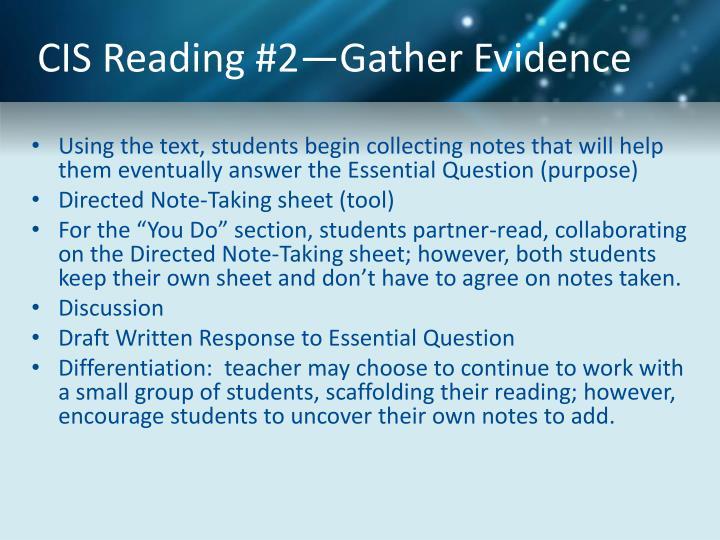 CIS Reading #2—Gather Evidence
