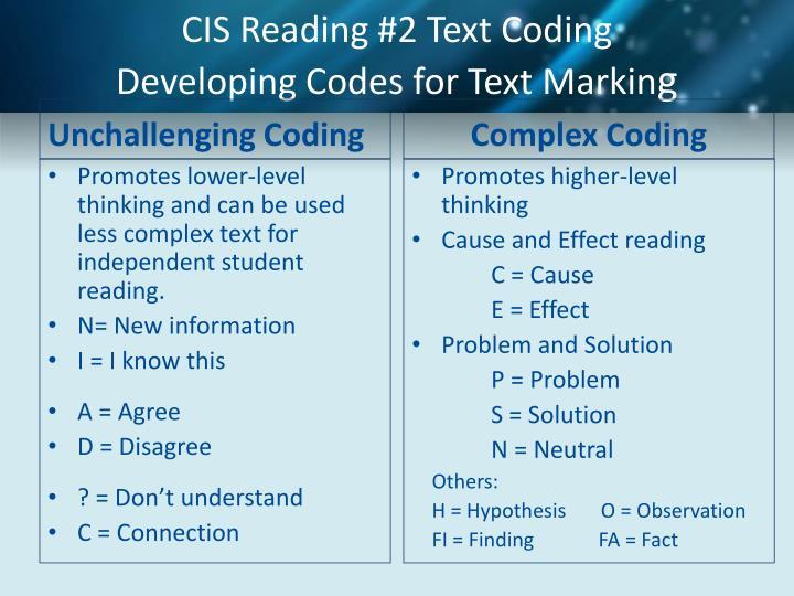 CIS Reading #2 Text Coding