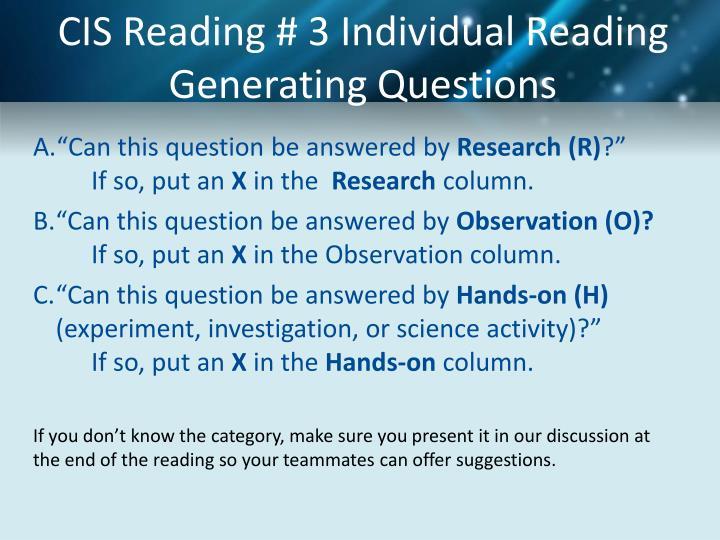 CIS Reading # 3 Individual Reading