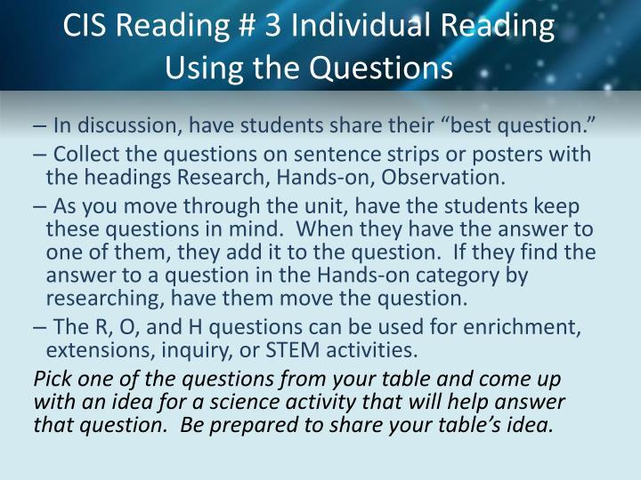 CIS Reading #