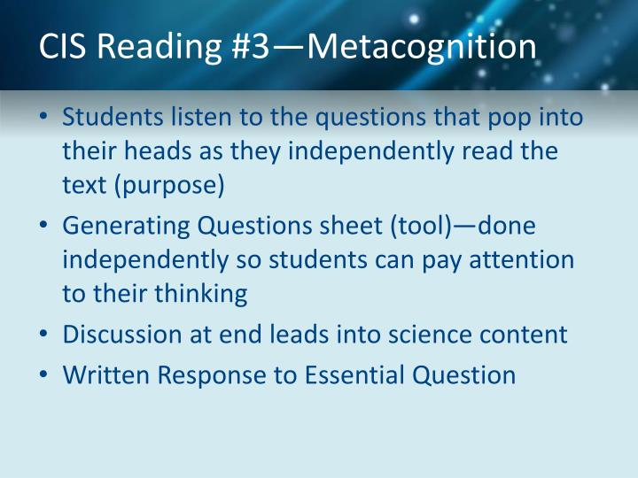 CIS Reading #3—Metacognition