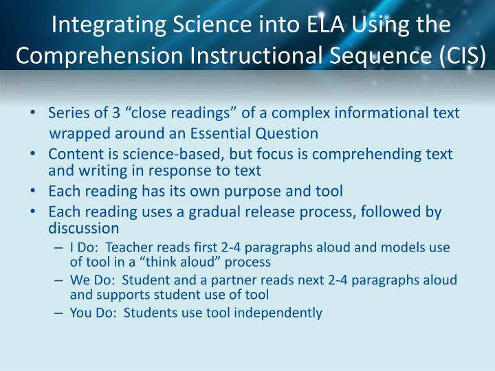 Integrating Science into ELA Using the Comprehension Instructional Sequence (CIS)