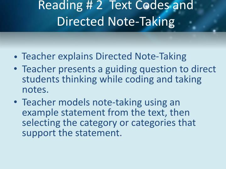 Reading # 2  Text Codes and