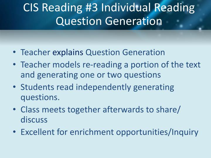 CIS Reading #3 Individual Reading