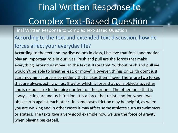 Final Written Response to