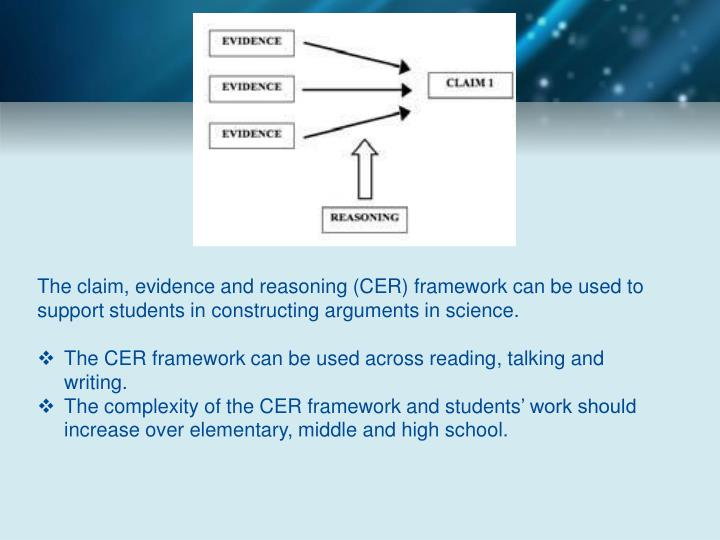 The claim, evidence and reasoning (CER