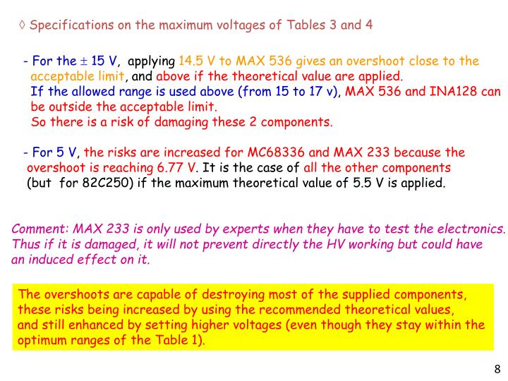  Specifications on the maximum voltages of Tables 3 and 4