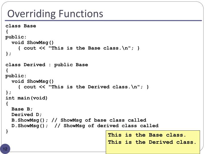 Overriding Functions