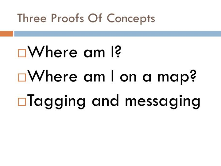 Three Proofs Of Concepts