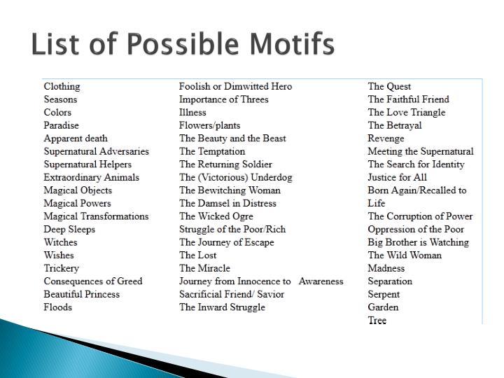 List of Possible Motifs