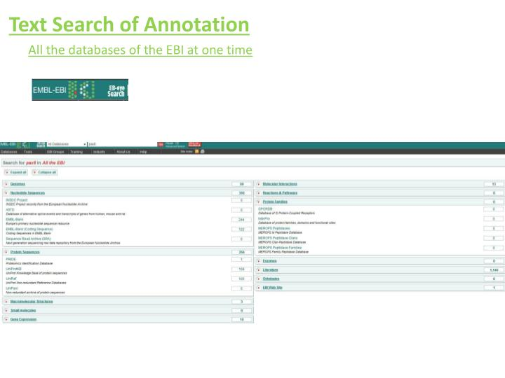 Text Search of Annotation