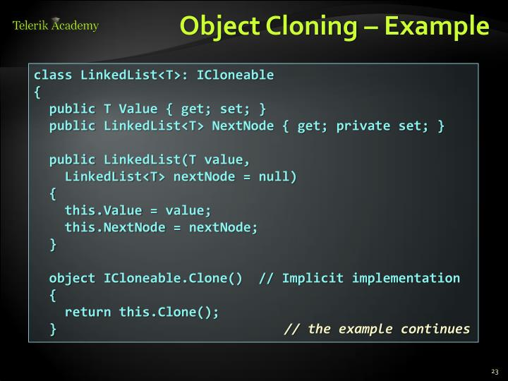 Object Cloning