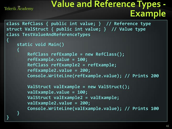 Value and Reference Types - Example