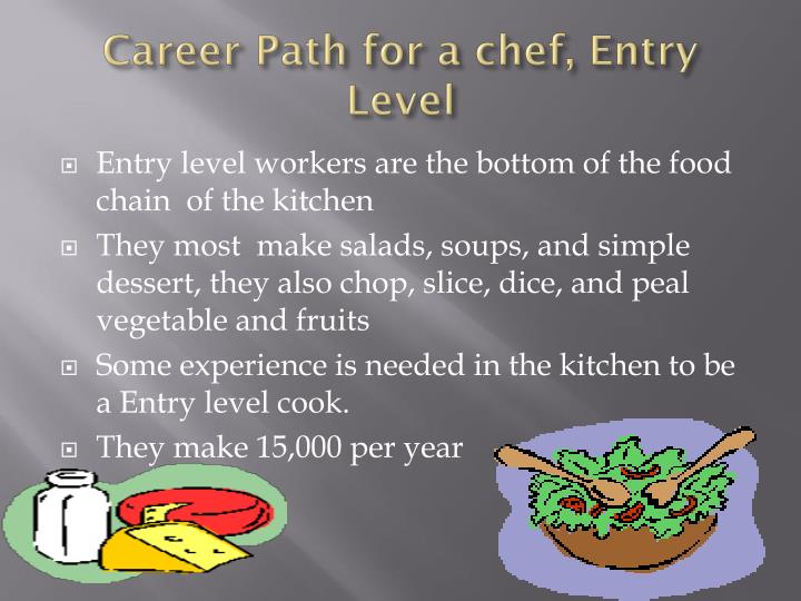 Career Path for a chef, Entry Level