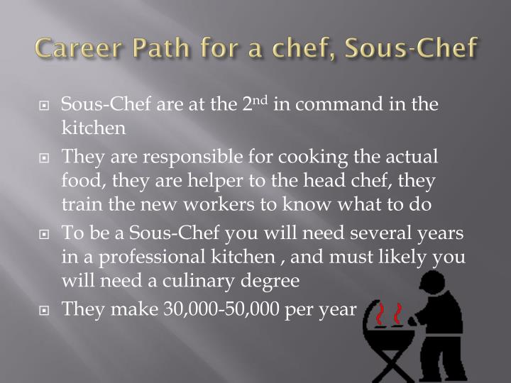 Career Path for a chef, Sous-Chef