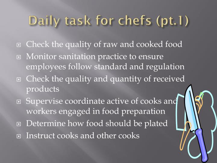 Daily task for chefs (pt.1)
