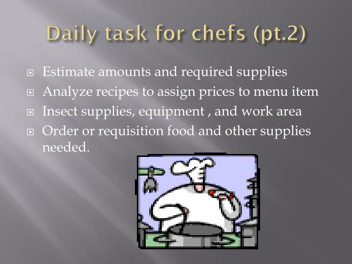 Daily task for chefs (pt.2)
