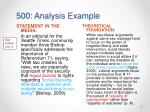 500 analysis example