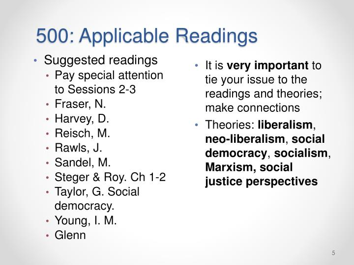 500: Applicable Readings