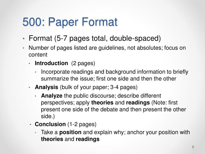 500: Paper Format