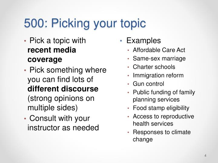 500: Picking your topic