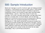 500 sample introduction