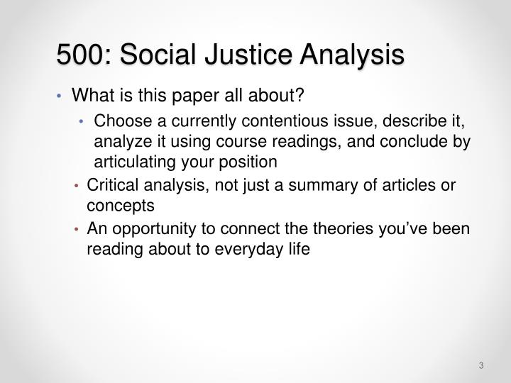 500 social justice analysis