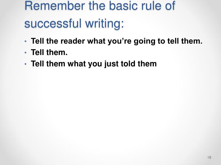 Remember the basic rule of successful writing: