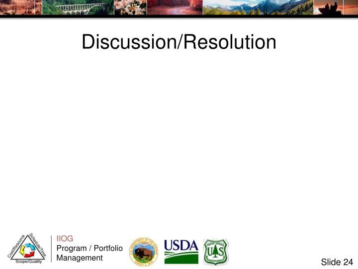 Discussion/Resolution