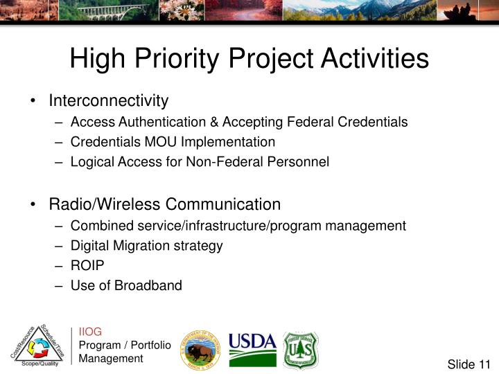 High Priority Project Activities