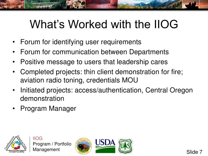 What's Worked with the IIOG