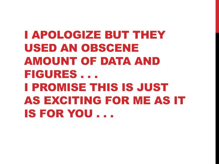 I apologize but they used an obscene amount of data and figures . . .
